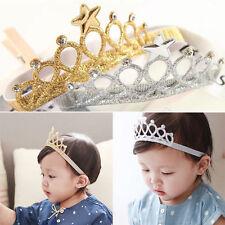 Gold Baby Girls Kids Princess Crown Headwear Accessories Toddler Headbands