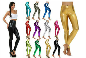 Metallic Leggings Stretchy Pants polyester Shiny Glossy Dress Up Dance Party AU