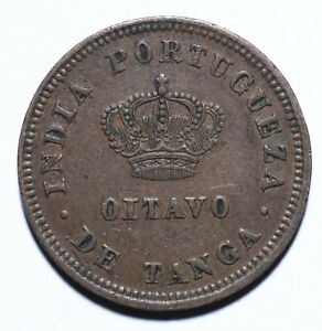 1886, India Portuguese, 1/8 Tanga, Luiz I, gVF, Copper, KM# 307 [Lot 1509]