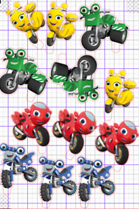 12 Kids Motorbikes Zoom  STAND UP Edible Cupcake Topper Edible Pre Cut