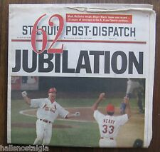 Newspaper:St. Louis Post-Dispatch September 9, 1998 Tribute to Mark McGwire