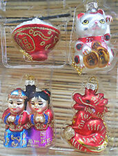 4 NIB  MINI ASIAN HOLIDAY GLASS ORNAMENT SET MANEKI DRAGON RICE BOWL FRIENDS