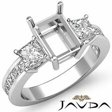 Three Stone Diamond Wedding Ring Platinum 950 Princess Emerald Semi Mount 1.1Ct