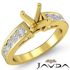 Channel Set Diamond Engagement Ring 14k Yellow Gold Multi Shape Semi Mount 0.75C
