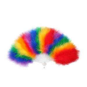 Rainbow Fan Fancy Dress Accessory Multi Coloured Feather Fan Gay Pride