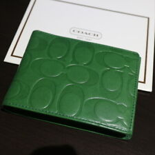 NWT COACH Men's Passcase ID Embossed Signature Leather Green Wallet Bifold NEW