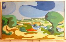 Vintage ABSTRACT MODERNIST HARD EDGE OIL PAINTING Mid Century Modern - Morocco
