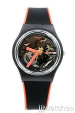 New Swatch Red Frame Black/Red Silicone Strap Skeleton Dial Watch 34mm GB290