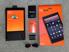 AMAZON KINDLE FIRE HD 10 TABLET 32GB (7th GENERATION) RED ACCESSORIES + BOX