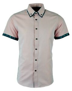 MENS DOUBLE COLLAR SHORT SUMMER SLEEVES PARTY CASUAL DRESS SHIRT NOW £17.99 (475