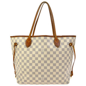 LOUIS VUITTON NEVERFULL MM HAND TOTE BAG  PURSE DAMIER AZUR et N51107 37447