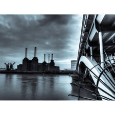 Warby Battersea Power Station At Night Photo Canvas Wall Art Print Poster