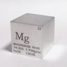 1 inch 25.4mm Magnesium Metal Cube 28g 99.95% Engraved Periodic Table