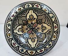 HHbx MOROCCO POTTERY LOW BOWL HANGING PLATE, MARKED SAFI -- 9 INCH