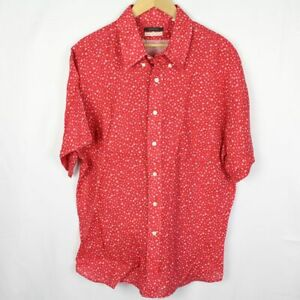 UNIONMADE Short Sleeve Button Down Shirt Red Floral New England XL