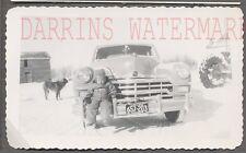 Vintage Car Photo Cute Boy & Dog w/ 1949 Chrysler Automobile Winter Snow 712760