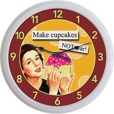 "Cupcake Baker Bakery Kitchen Wall Clock Make Cupcakes...Not War New 10"""