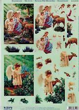 PRECUT ANGELS NATURE  FAWN DEER  TOLE CARDS DIMENSIONAL KIT ORNAMENT COLLAGE