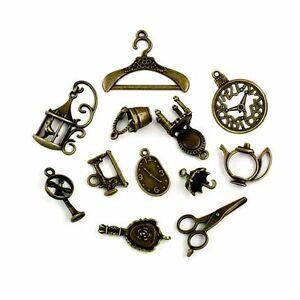 Vintage Anhänger Mix - 12 Formen Bronze - Haushalt Schmuck Anhänger Basteln Öse