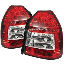 RED CLEAR LED TAIL BRAKE LIGHTS FOR 96-00 HONDA CIVIC 3DR HATCHBACK EK4 EK9 EJ9