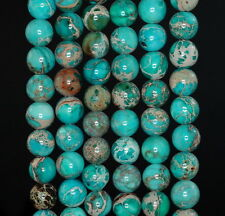 8MM SEA SEDIMENT IMPERIAL JASPER GEMSTONE AA TURQUOIS BLUE ROUND LOOSE BEADS 15""