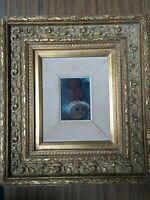 "Carlos Original Oil Painting on Board, Signed, Framed, 3 1/2"" x 5"" (Image)"