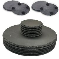 Set of 12 Natural Slate ROUND 6 Placemats & 6 Coasters Tablemat Dinner Set