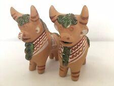 Pair Of Terraccotta Hand Painted Bull Figurines South American Folk Art Vintage