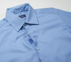 ROBERT GRAHAM Mens 15.5 39 Blue Striped Button Dress Shirt