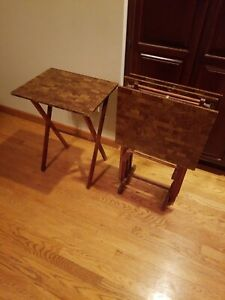 Set of 4 Wood VINTAGE Folding TV Tray Snack Serving Tables & Stand by GOLD MEDAL