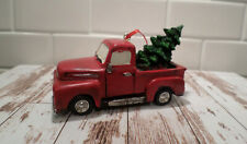 RED OLD STYLE TRUCK WITH CHRISTMAS TREE IN BACK TREE ORNAMENT HOME DECOR DISPLAY
