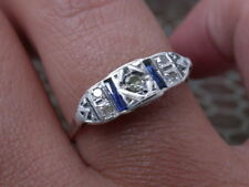 ANTIQUE ART DECO  GOLD  GENUINE DIAMONDS SAPPHIRE RING nr  combine shipp