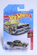 HOT WHEELS '57 CHEVY BELAIR BLACK W/ FLAMES NEW ON CARD