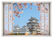 Japanese Palace View Window 3D Wall Decal Art Mural Home Decor Canvas Vinyl W09
