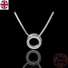 Collar de plata esterlina 925 Cristal estrás Anillo Círculo Colgante Gargantilla Boho