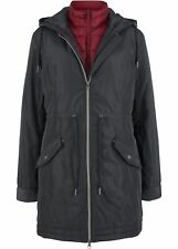 3-in-1-Jacke mit Weste Gr. 42 Schwarz Damenjacke Kapuzen-Mantel Parka Neu