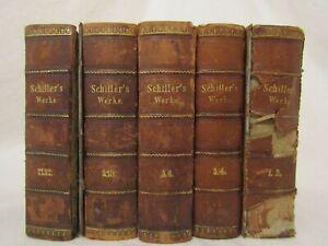 ANTIQUE 1847 SCHILLERS WERKE 10 VOLUMES IN GERMAN VOLUMES 1-6 & 9-12 HARDCOVER