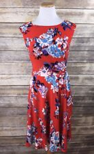 Tahari ASL Floral Sleeveless Fit & Flare Tea Dress Orange Blue Wrap Waist Sz 6