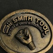Smith Tool Vintage Brass Belt Buckle Gold Patina Oval Rugged Metal Construction