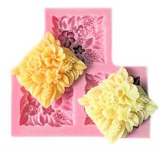 Flower Spray Square 3 Cavity Silicone Mold for Fondant, Gum Paste, Chocolate,