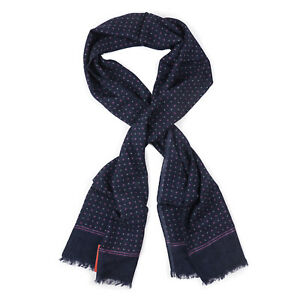 Isaia Navy Blue and Purple Dot Print Lightweight Cashmere and Wool Scarf NWT