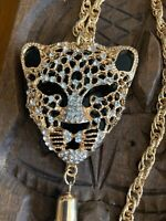 """Gorgeous Tiger Tassel Gold Tone Pendant with Beautiful Long Chain Necklace 30"""""""