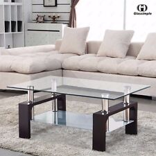 Designer Glass Rectangular Coffee Table Shelf Chrome Wood Living Room Furniture