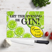 Large Personalised Let The Evening Be Gin Glass Cutting Chopping Board Kitchen