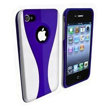 Dark Blue / White Cup-shape Snap-on Rubber Coated Case for Apple iPhone 4/4S