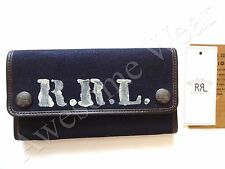 New Ralph Lauren RRL Navy Blue Logo Canvas Leather Trim Trifold Wallet