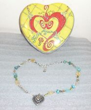 Authentic Brighton AMERICAN HERO Turquoise Beaded Heart Necklace + Tin New NWOT