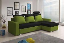 Ecksofa Sofa NORA mit Schlaffunktion Lim..grün/Schwarz Ottomane Rechts