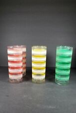 Vintage Set of 6 Tall Orange, Yellow and Green Drinking Glasses