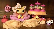 Authentic Littlest Pet Shop #1377 Cat W/ Tiny Bird/Cage & Accessories🐾